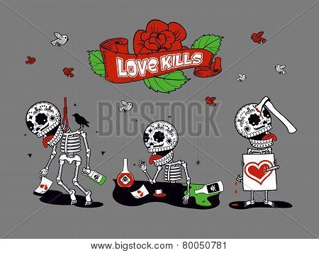 Funny Skeletons_love Kills