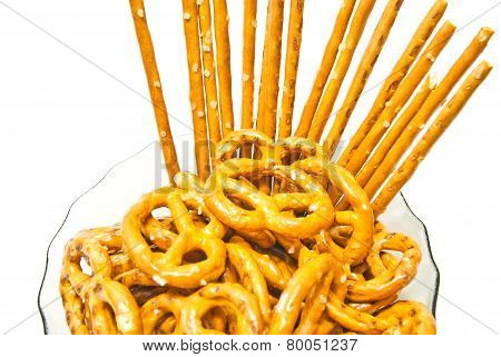 Many Tasty Pretzels And Breadsticks
