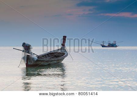 Beauty landscape of Long tail boat in the sea