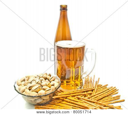 Breadsticks, Pistachios And Light Beer