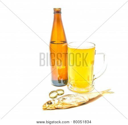 Light Beer And Salty Stockfish Closeup