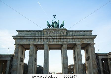 BERLIN, GERMANY - NOV 17, 2014: View of the Brandenburg Gate (Brandenburger Tor) is very famous architectural monument in the heart of Berlin's Mitte district, was created in 1788-1791 years.