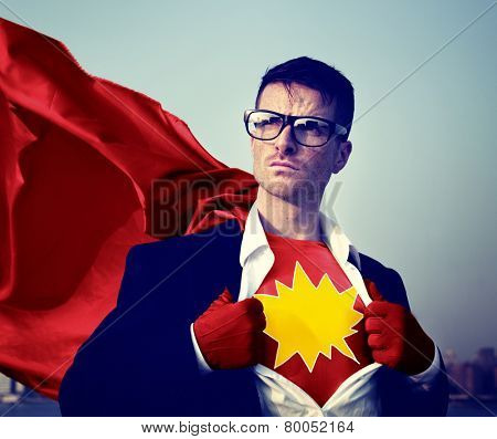 Kaboom Strong Superhero Success Professional Empowerment Stock Concept