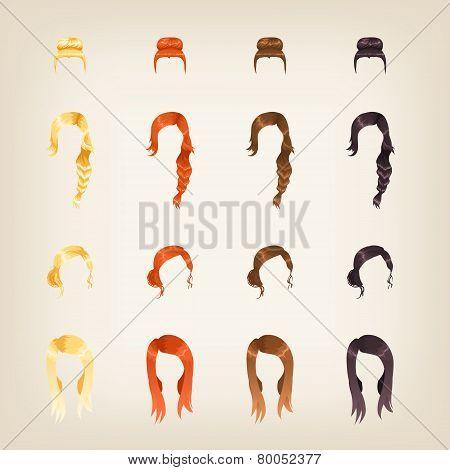Set Of Female Hair