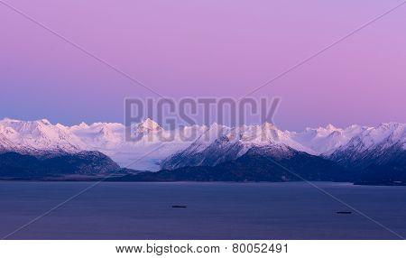 Pink Sky Over Grewingk Glacier
