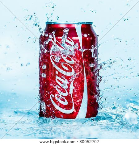 MOSCOW, RUSSIA-APRIL 4, 2014: Can of Coca-Cola in water. Coca-Cola is a carbonated soft drink sold in stores, restaurants, and vending machines throughout the world.