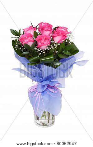 Bouqet Of Pink Roses Isolated On White