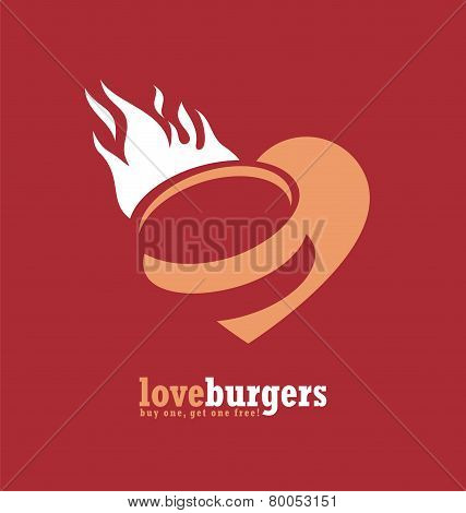 Hamburger poster with heart and fire