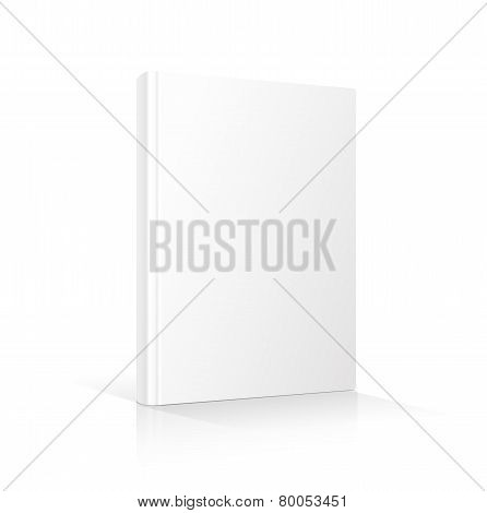 Blank vertical book cover template standing on white surface    illustration.