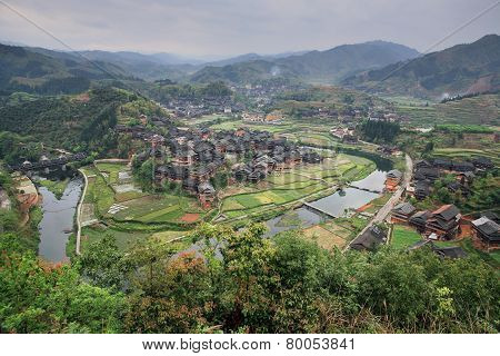 Rural China Aerial View Of Farmhouses Peasant Village