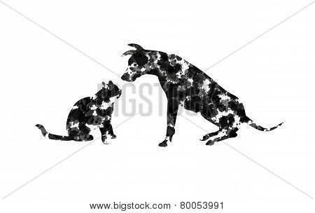 Abstract Silhouette of cat and dog