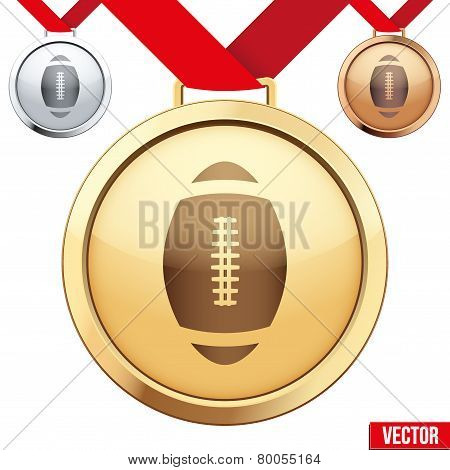 Gold Medal with the symbol of a football inside