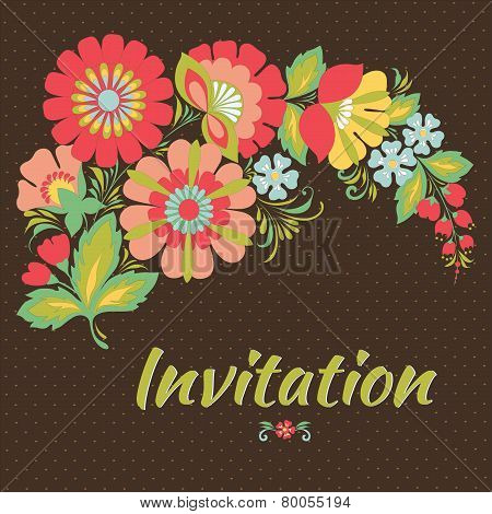 Wedding Card Or Invitation With Floral Background.