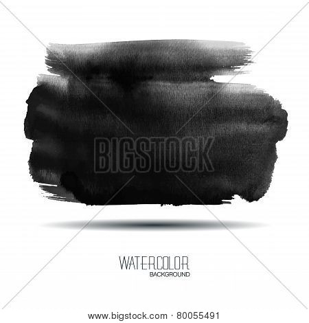 Black Watercolor Banner - Vector Illustration.