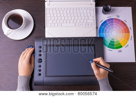 Designer working desk filled with computer,pen tablet