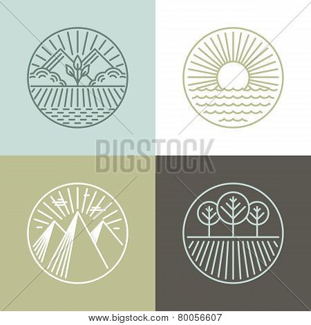 Vector Line Badges With Landscapes