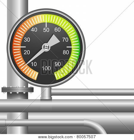 Gas, Fuel Pipe Valve And Pressure Meter