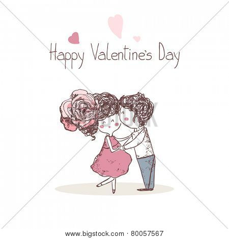 happy valentine`s day card with kissing couple