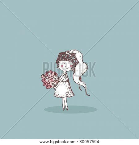 wedding set, bride bride with bouquet ready to toss