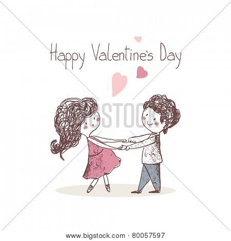 happy valentine`s card with dancing couple