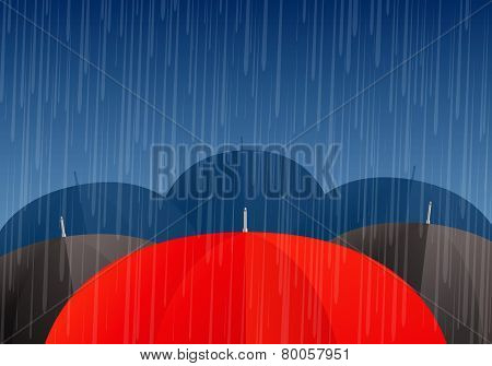 Vector Umbrellas And Rain Drops