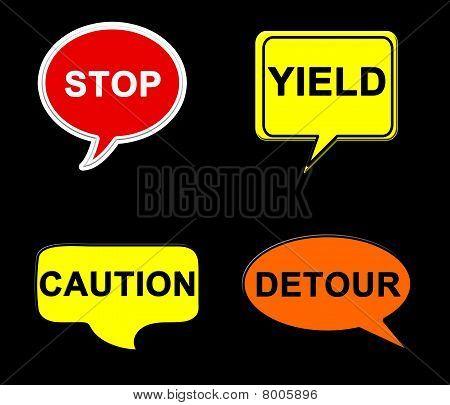 Traffic sign talk bubbles