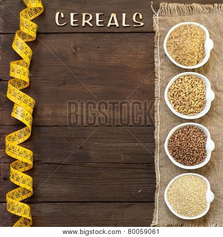 Cereals In Bowls With Word Cereals And Measuring Tape