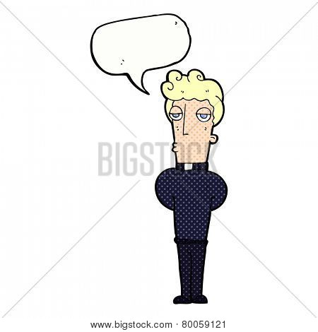 cartoon priest with speech bubble