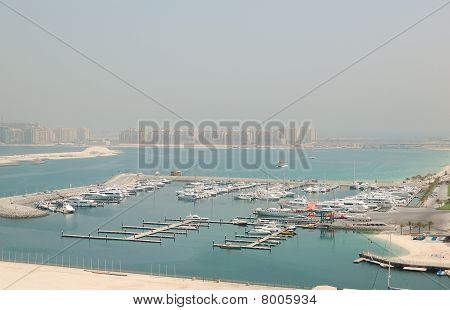 Dubai Marina Yacht Parking And Jumeirah Palm Man-made Island, Dubai, Uae