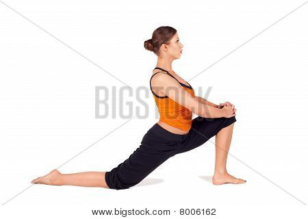 Fit Attractive Woman Practicing Yoga Stretching Pose