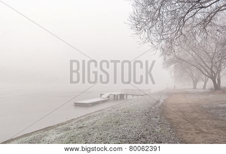 Winter Mist Over River