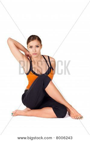 Fit Attractive Woman Practicing Yoga Stretching Asana