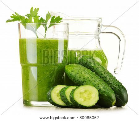 Glass With Fresh Vegetable Juice Isolated On White. Detox Diet