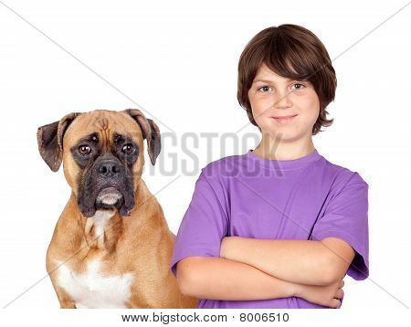 Adorable Boy And His Dog