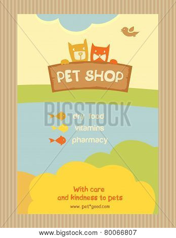 Brochure Flyer design vector template in A4 size. Advertise store for pets