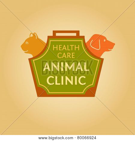 Logo with animals for animal clinic. Health care. Veterinary hospital. Cat and dog. Cat and dog in t