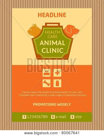 Logo for animal clinic. Brochure, Flyer design vector template in A4 size. Advertise store for pets.