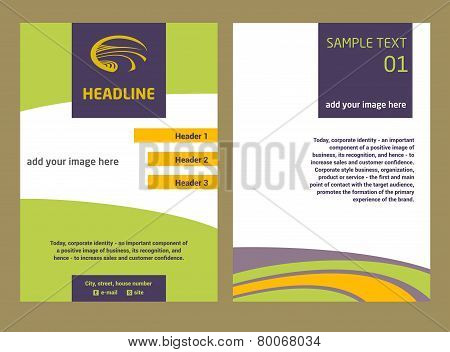 Brochure Flyer design vector template in A4 size. The logo with the image field of the road