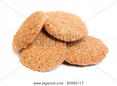 Cereal oatmeal cookies isolated on white background
