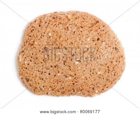 Oatmeal cereal cookie isolated on white background