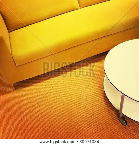 Bright Yellow Sofa And Coffee Table