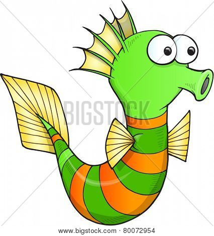 Silly Sea Horse Vector Illustration Art