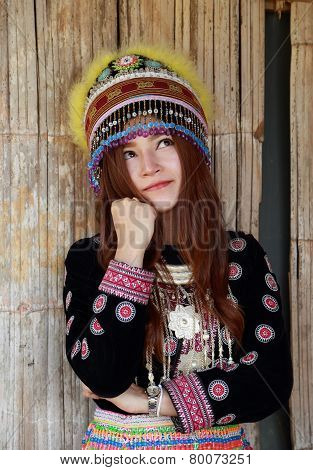 Traditionally Dressed Mhong Hill Tribe Woman Thinking