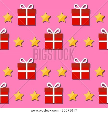 Seamless Pattern. Giftbox And Stars Symbols.