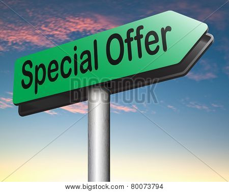 special sales offer road sign exclusive bargain promotion low hot price best value and deal