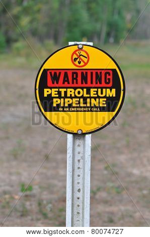 Warning Petrolium Pipeline Sign