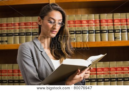 Pretty lawyer reading in the law library at the university