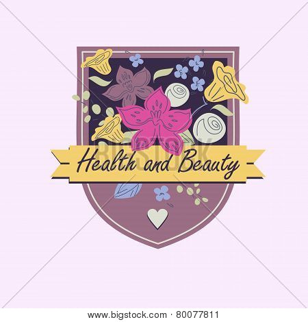 Vector logo with flowers. Beauty and health. Orchids, roses, leaves.