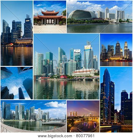 Mosaic collage storyboard of Singapore tourist views travel images