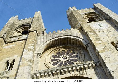 Close to the main facade of Se Cathedral, Lisbon, Portugal.